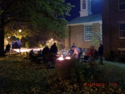 A fun November Bonfire with Hotdogs, S'mores, and Song on the church lawn