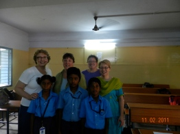Marsha, Leslie, Brenda, and Pastor Jacque with our sponsored students in India